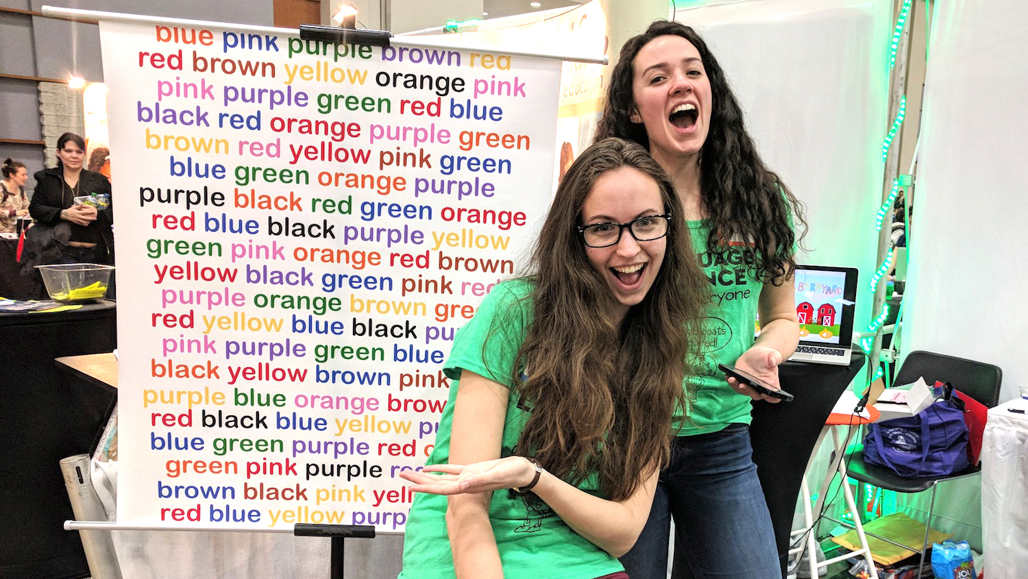 Hanna Muller and Jackie Nelligan having fun while explaining the Stroop Test.